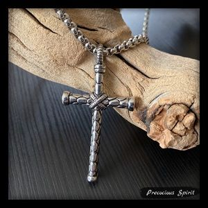 Other - Men's stainless steel X cross pendant necklace